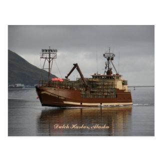 Cartão Postal Senhora ártica, barco do caranguejo no porto