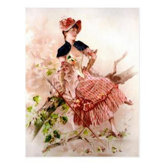 Cartão Postal Senhora bonita Cor-de-rosa Pingamento do vintage