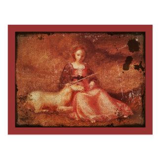 Cartão Postal Senhora Castidade Holding Unicórnio