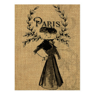 Cartão Postal Senhora clássica de Paris do vintage