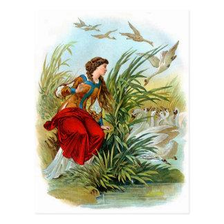 Cartão Postal Senhora Com Cisne do vintage