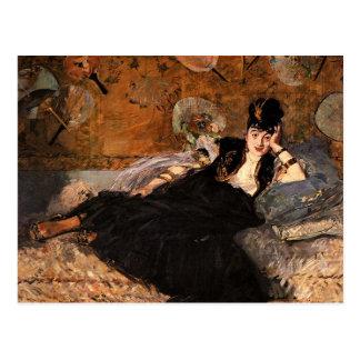 Cartão Postal Senhora com os fãs por Edouard Manet
