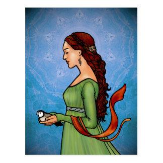 Cartão Postal Senhora Com um pássaro