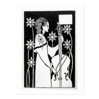 """Cartão Postal Senhora com violoncelo, de """"do ` do d'Arthur Le"""