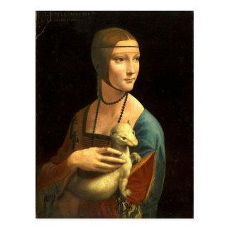 Cartão Postal Senhora da pintura de Da Vinci original com um