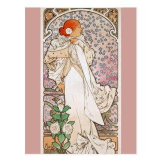 Cartão Postal Senhora das camélias por Alphonse Mucha