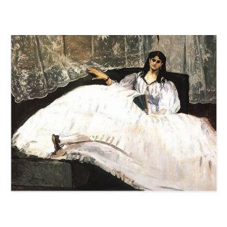 Cartão Postal Senhora de Edouard Manet- com um fã