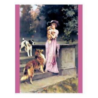 Cartão Postal Senhora do Victorian com animais de estimação do