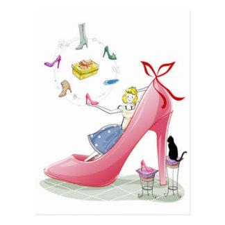 Cartão Postal Senhora dos calçados do gatinho