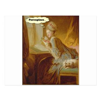 Cartão Postal Senhora elegante Pensamento Sobre Porco-