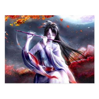 Cartão Postal Senhora japonesa Playing Um Flauta
