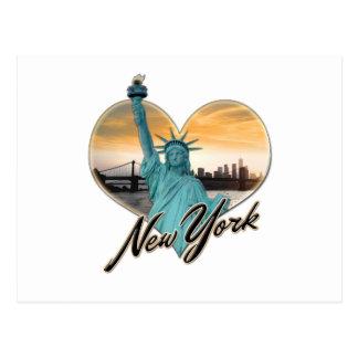 Cartão Postal Senhora Liberdade da lembrança da skyline da Nova