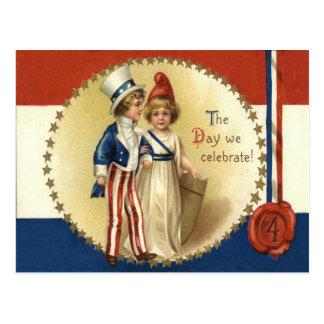 Cartão Postal Senhora Liberdade Estrela do tio Sam das crianças