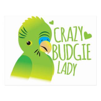 Cartão Postal Senhora louca do budgie