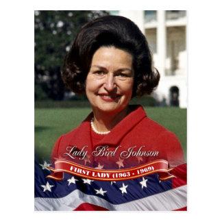Cartão Postal Senhora Pássaro Johnson, primeira senhora dos E.U.