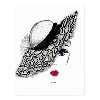 Cartão Postal senhora preta do chapéu do teste padrão