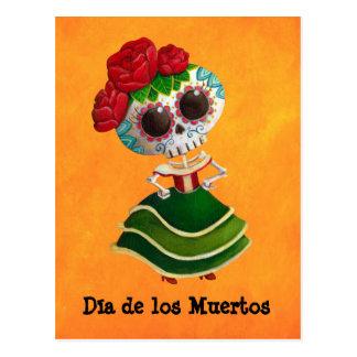 Cartão Postal Senhorita morte de Diâmetro de Muertos Mexicano