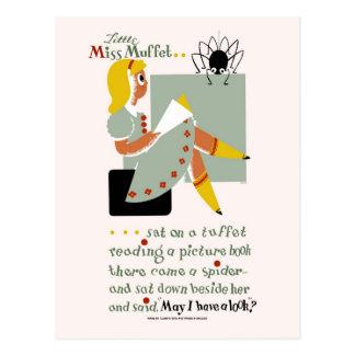 Cartão Postal Senhorita pequena Muffet. 1940 que lêem o poster