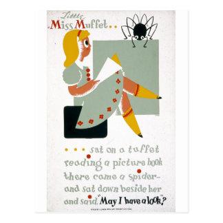 Cartão Postal Senhorita pequena Muffet Sat em um poster 1940 de