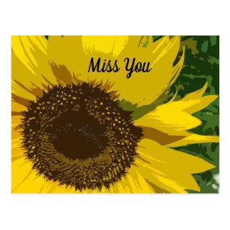 Cartão Postal Senhorita Você com o girassol bonito e original