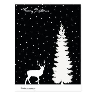 Cartão Postal Sentimentos do Natal - árvore de Natal e rena