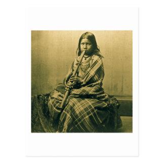 Cartão Postal Sepia da menina do músico de Sioux