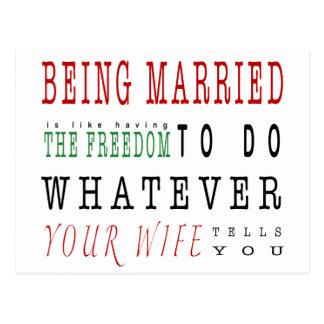 Cartão Postal Ser Married é umas citações da liberdade