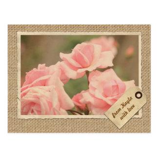 Cartão Postal Serapilheira de papel do rosa do rosa do Tag do