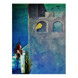 Cartão Postal Sereia e peixes no castelo submarino