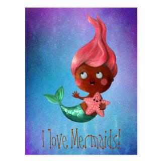 Cartão Postal Sereia pequena bonito com cabelo cor-de-rosa