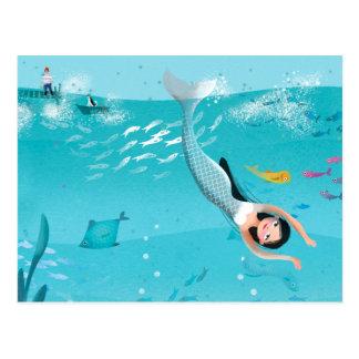 Cartão Postal Sereias bonitas na ilustração do mar
