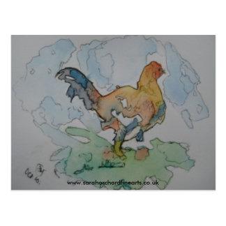"""Cartão Postal Série da serra de vaivém - """"galinha na fazenda"""""""