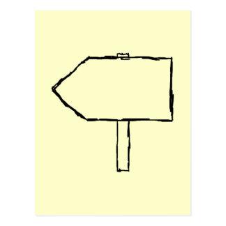 Cartão Postal Seta do letreiro. Preto e creme