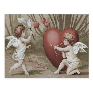 Cartão Postal Seta líquida do arco do coração do Cupido