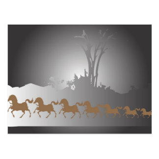 Cartão Postal Sete cavalos