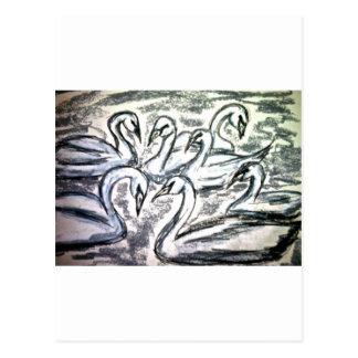 Cartão Postal Sete cisnes uma natação