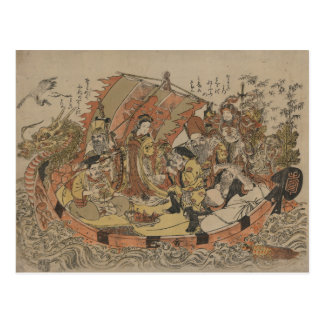 Cartão Postal Sete deuses da boa fortuna no barco do tesouro