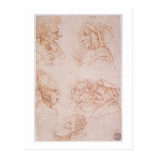 Cartão Postal Sete estudos das caras grotescos (giz vermelho no