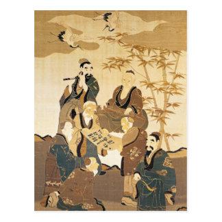 Cartão Postal Sete homens sábios na floresta de bambu