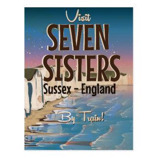 Cartão Postal Sete irmãs, poster das viagens vintage de Sussex