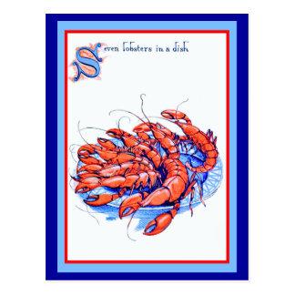 Cartão Postal Sete lagostas