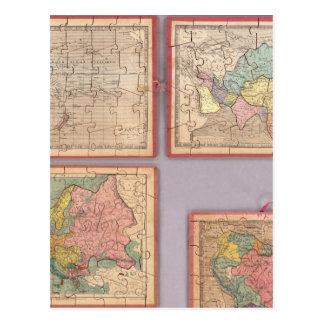 Cartão Postal Sete mapas do quebra-cabeça do mundo