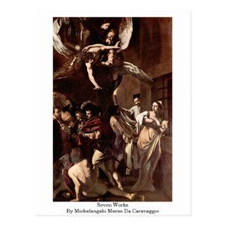 Cartão Postal Sete trabalhos por Michelangelo Merisi a Dinamarca