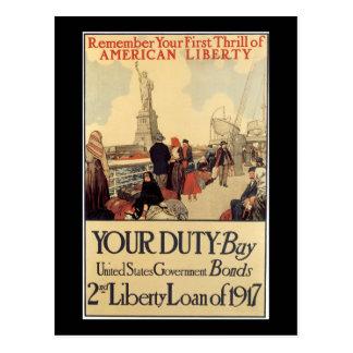 """Cartão Postal """"Seu empréstimo da liberdade do dever"""" - ò"""