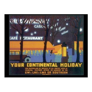 Cartão Postal Seu poster de viagens continental de