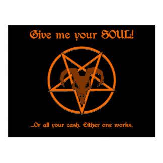 Cartão Postal Seus alma ou humor do Pentacle e da cabra da satã