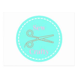 Cartão Postal Sew o Aqua esperto das cinzas do rosa Pastel