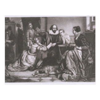 Cartão Postal Shakespeare com sua família, em Stratford, Recitin
