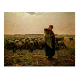 Cartão Postal Shepherdess com seu rebanho, 1863