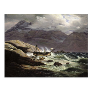 Cartão Postal Shipwreck na costa norueguesa, 1831